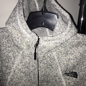 north face grey zip up fleece